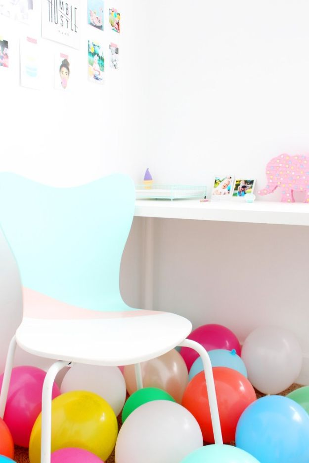 DIY Office Furniture - -DIY Colorblocked Office Chair Do It Yourself Home Office Furniture Ideas - Desk Projects, Thrift Store Makeovers, Chairs, Office File Cabinets and Organization - Shelving, Bulletin Boards, Wall Art for Offices and Creative Work Spaces in Your House - Tables, Armchairs, Desk Accessories and Easy Desks To Make On A Budget #diyoffice #diyfurniture #diy #diyhomedecor #diyideas