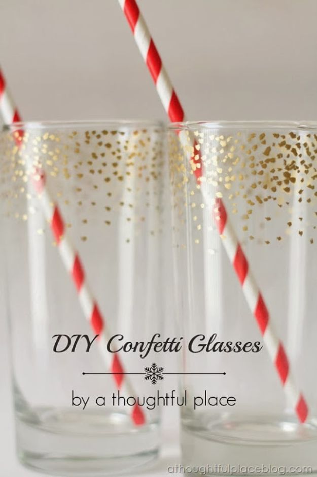 Cheap DIY Gift Ideas - DIY Confetti Glasses - List of Handmade Gifts on A Budget and Inexpensive Christmas Presents - Do It Yourself Gift Idea for Family and Friends, Mom and Dad, For Guys and Women, Boyfriend, Girlfriend, BFF, Kids and Teens - Dollar Store and Dollar Tree Crafts, Home Decor, Room Accessories and Fun Things to Make At Home http://diyjoy.com/cheap-diy-gift-ideas