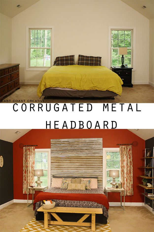DIY Industrial Decor - DIY Corrugated Metal Headboard - Industrail Shelves, Furniture, Table, Desk, Cart, Headboard, Chandelier, Bookcase - Easy Pipe Shelf Tutorial - Rustic Farmhouse Home Decor on A Budget - Lighting Ideas for Bedroom, Bathroom and Kitchen http://diyjoy.com/diy-industrial-decor