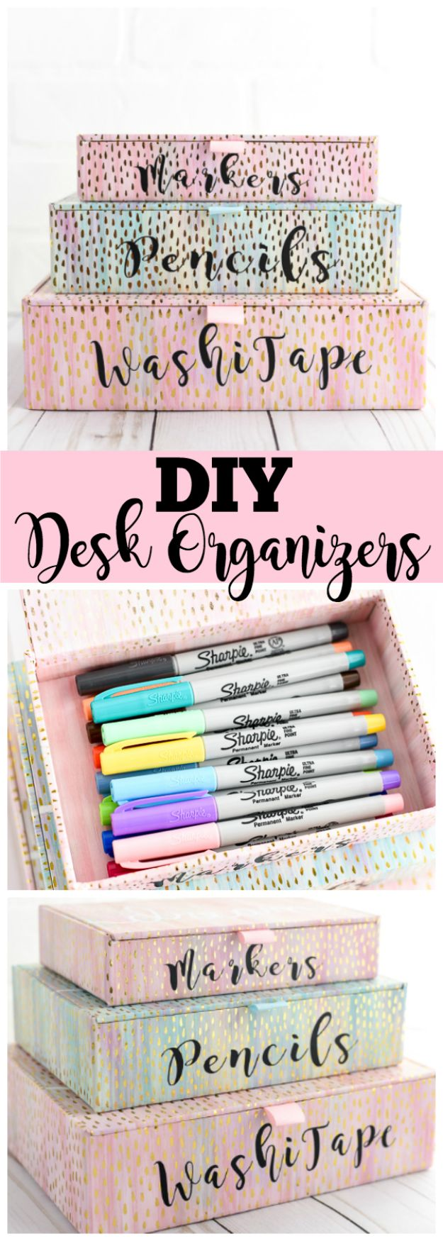 Organizing Ideas for Your Life - DIY Desk Organizers - Easy Crafts and Cool Ideas for Getting Organized - Best Ways to Get Organized - Things to Make for Being More Efficient and Productive - DIY Storage, Shelving, Calendars, Planning #organizing