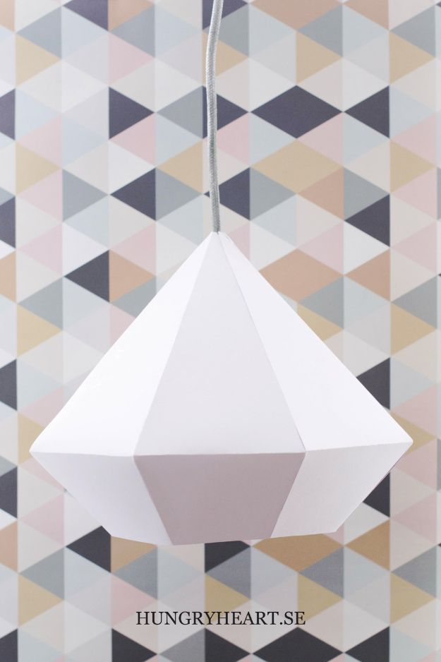 Paper Crafts DIY - DIY Diamond Pendant Light - Papercraft Tutorials and Easy Projects for Make for Decoration and Gift IDeas - Origami, Paper Flowers, Heart Decoration, Scrapbook Notions, Wall Art, Christmas Cards, Step by Step Tutorials for Crafts Made From Papers http://diyjoy.com/paper-crafts-diy
