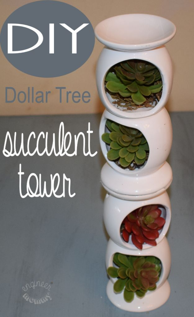 Dollar Tree Crafts - DIY Dollar Tree Succulent Tower - DIY Ideas and Crafts Projects From Dollar Tree Stores - Easy Organizing Project Tutorials and Home Decorations- Cheap Crafts to Make and Sell - Organization, Summer Parties, Christmas and Wedding Decor on A Budget - Fun Crafts for Kids and Teens from Dollar Store Items #dollarstore #dollartree #dollarstorecrafts #cheapcrafts #crafts #diy #diyideas http://diyjoy.com/dollar-tree-crafts