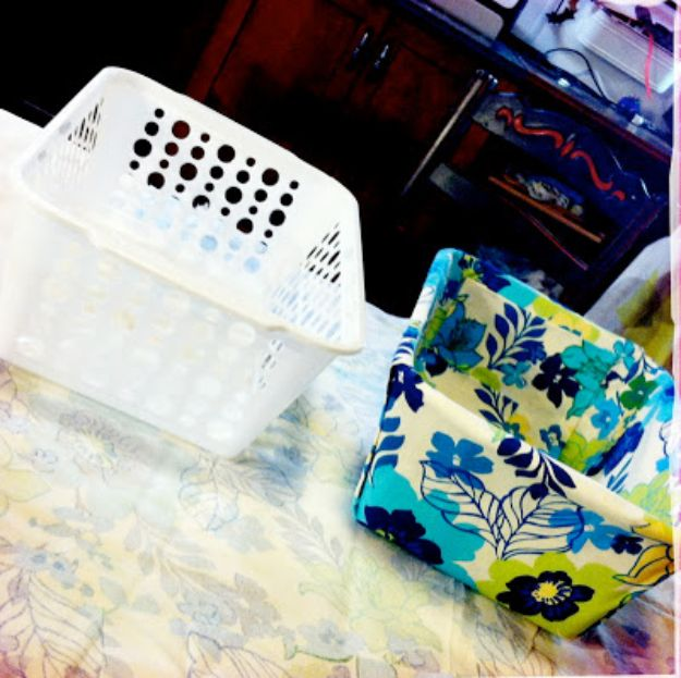Dollar Tree Crafts - DIY Fabric Covered Bins - DIY Ideas and Crafts Projects From Dollar Tree Stores - Easy Organizing Project Tutorials and Home Decorations- Cheap Crafts to Make and Sell #dollarstore #dollartree #dollarstorecrafts #cheapcrafts #crafts #diy #diyideas
