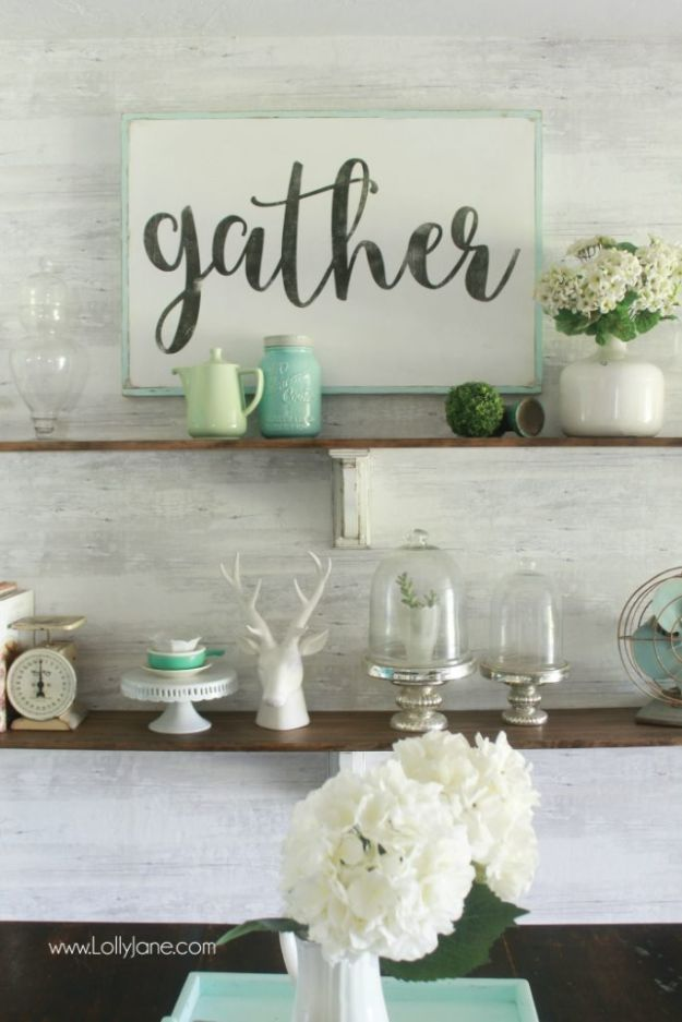 DIY Home Decor On A Budget - DIY Farmhouse Shelves - Cheap Home Decorations to Make From The Dollar Store and Dollar Tree - Inexpensive Budget Friendly Wall Art, Furniture, Table Accents, Rugs, Pillows, Bedding and Chairs - Candles, Crafts To Make for Your Bedroom, Pretty Signs and Art, Linens, Storage and Organizing Ideas for Apartments #diydecor #decoratingideas #cheaphomedecor