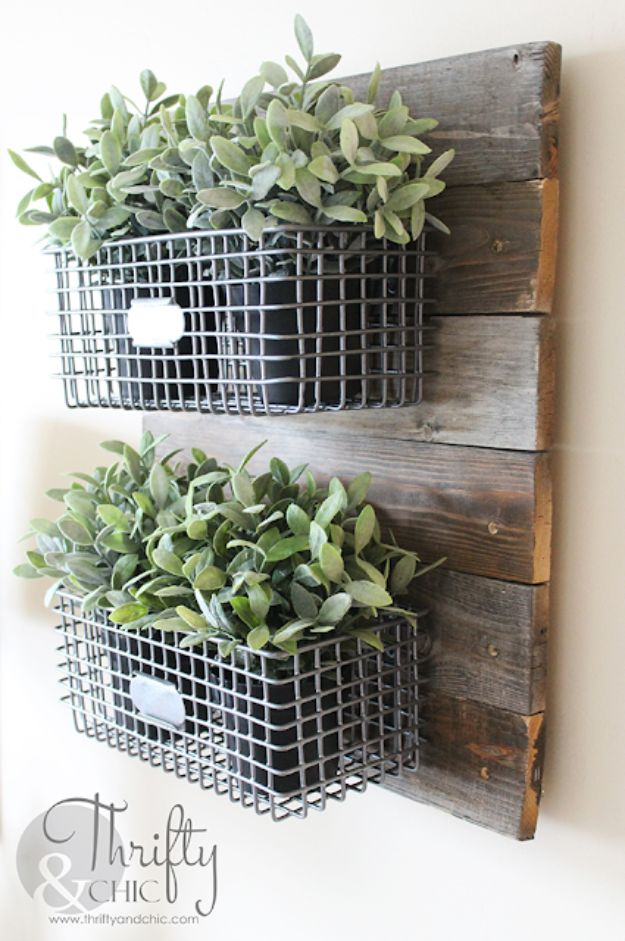 DIY Home Decor On A Budget - DIY Farmhouse Style Hanging Wire Baskets - Cheap Home Decorations to Make From The Dollar Store and Dollar Tree - Inexpensive Budget Friendly Wall Art, Furniture, Table Accents, Rugs, Pillows, Bedding and Chairs - Candles, Crafts To Make for Your Bedroom, Pretty Signs and Art, Linens, Storage and Organizing Ideas for Apartments #diydecor #decoratingideas #cheaphomedecor