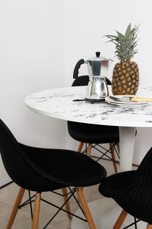 IKEA Hacks for Your Kitchen - Faux Marble Table Top - DIY Furniture and Kitchen Accessories Made from IKEA - Kitchen Islands, Cabinets, Table, Pantry Organization, Storage, Shelves and Counter Solutions - Bar, Buffet and Entertaining Ideas - Easy Projects With Step by Step Tutorials and Instructions to Hack IKEA items #ikea #ikeahacks #diyhomedecor #diyideas #diykitchen