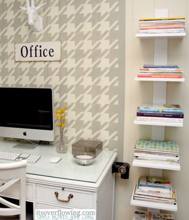 DIY Office Furniture - DIY Floating Shelves - Do It Yourself Home Office Furniture Ideas - Desk Projects, Thrift Store Makeovers, Chairs, Office File Cabinets and Organization - Shelving, Bulletin Boards, Wall Art for Offices and Creative Work Spaces in Your House - Tables, Armchairs, Desk Accessories and Easy Desks To Make On A Budget #diyoffice #diyfurniture #diy #diyhomedecor #diyideas