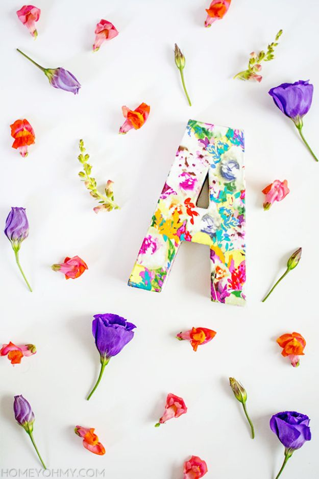 Easy Dollar Tree Crafts - Cute DIY Floral Monogram Room Decor Idea for Teens- DIY Ideas and Crafts Projects From Dollar Tree Stores - Easy Organizing Project Tutorials and Home Decorations- Cheap Crafts to Make and Sell #dollarstore #dollartree #dollarstorecrafts #cheapcrafts #crafts #diy #diyideas