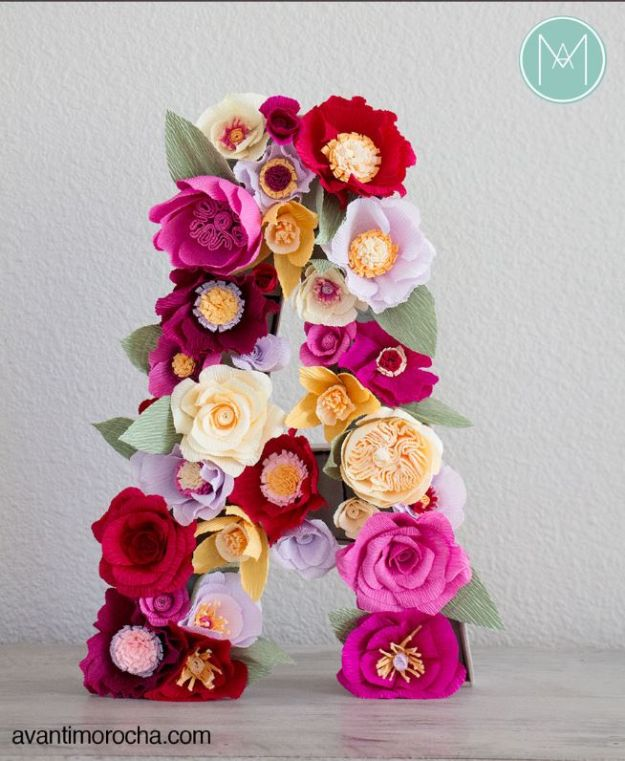 Paper Crafts DIY - DIY Flower Monogram - Papercraft Tutorials and Easy Projects for Make for Decoration and Gift IDeas - Origami, Paper Flowers, Heart Decoration, Scrapbook Notions, Wall Art, Christmas Cards, Step by Step Tutorials for Crafts Made From Papers http://diyjoy.com/paper-crafts-diy