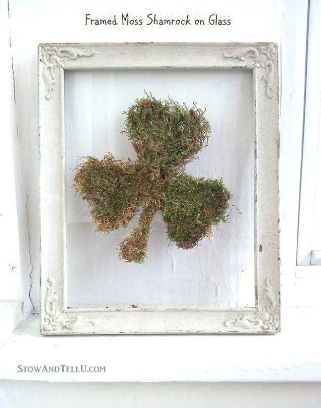 Dollar Tree Crafts - DIY Framed Moss Shamrock on Glass - DIY Ideas and Crafts Projects From Dollar Tree Stores - Easy Organizing Project Tutorials and Home Decorations- Cheap Crafts to Make and Sell #dollarstore #dollartree #dollarstorecrafts #cheapcrafts #crafts #diy #diyideas
