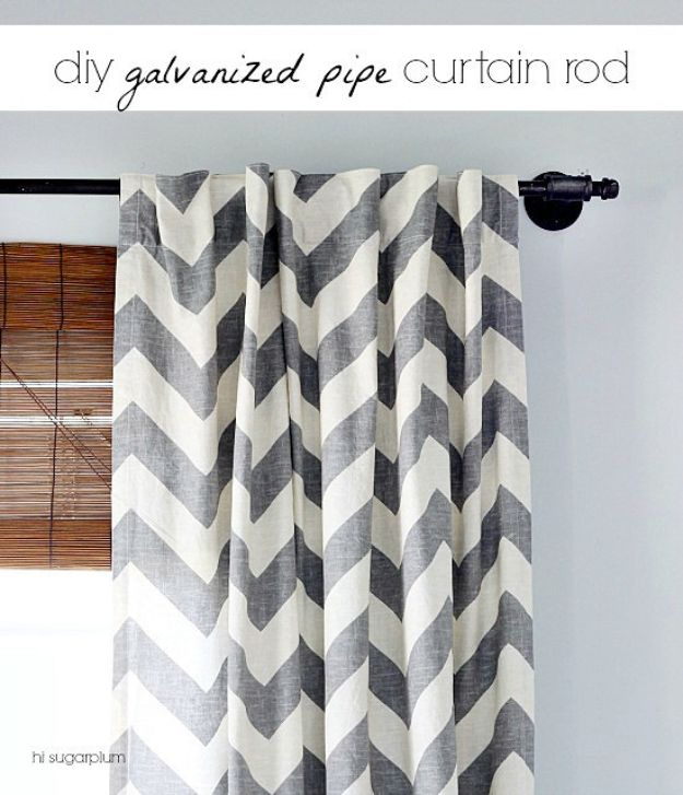 DIY Industrial Decor - DIY Galvanized Pipe Curtain Rod - Industrail Shelves, Furniture, Table, Desk, Cart, Headboard, Chandelier, Bookcase - Easy Pipe Shelf Tutorial - Rustic Farmhouse Home Decor on A Budget - Lighting Ideas for Bedroom, Bathroom and Kitchen http://diyjoy.com/diy-industrial-decor