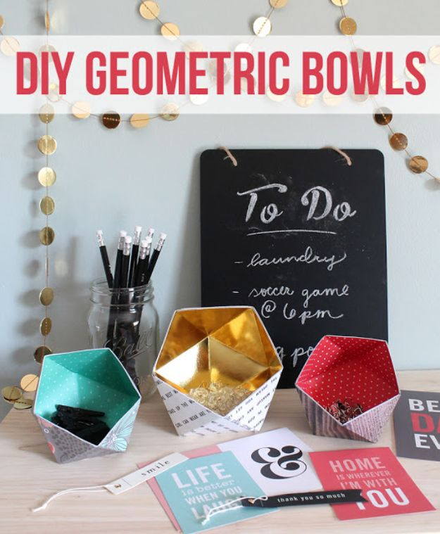 Paper Crafts DIY - DIY Geometric Bowls - Papercraft Tutorials and Easy Projects for Make for Decoration and Gift IDeas - Origami, Paper Flowers, Heart Decoration, Scrapbook Notions, Wall Art, Christmas Cards, Step by Step Tutorials for Crafts Made From Papers #crafts