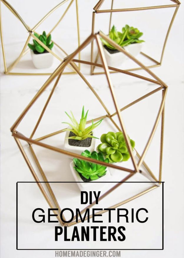 DIY Home Decor On A Budget - DIY Geometric Planters - Cheap Home Decorations to Make From The Dollar Store and Dollar Tree - Inexpensive Budget Friendly Wall Art, Furniture, Table Accents, Rugs, Pillows, Bedding and Chairs - Candles, Crafts To Make for Your Bedroom, Pretty Signs and Art, Linens, Storage and Organizing Ideas for Apartments