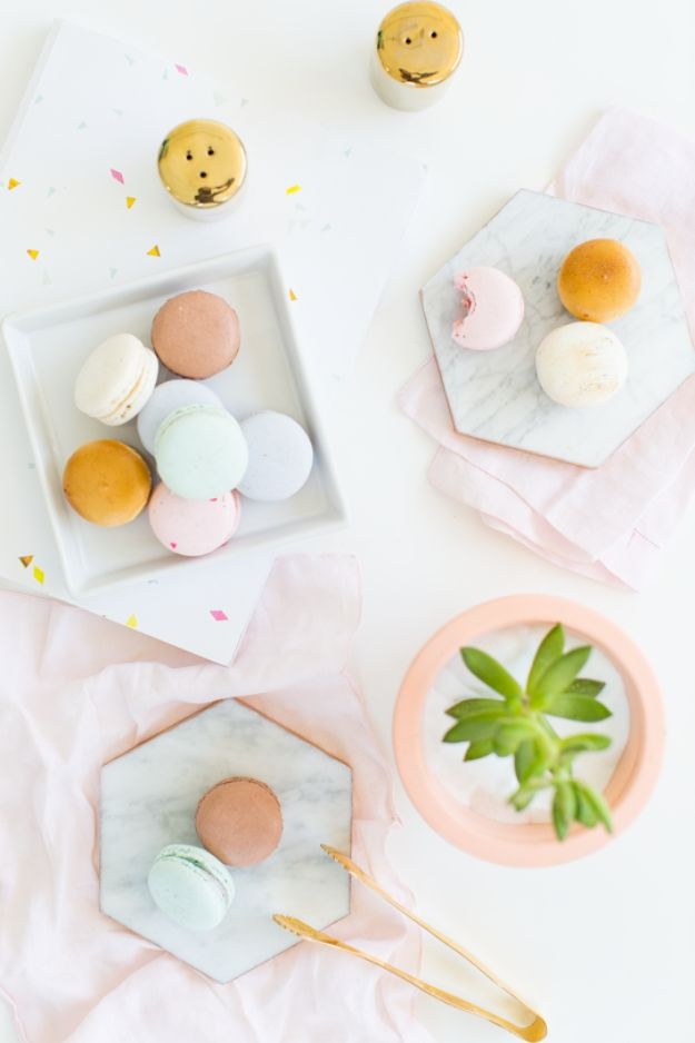 Cheap DIY Gift Ideas - DIY Gilded Marble Hexagon Serving Boards - List of Handmade Gifts on A Budget and Inexpensive Christmas Presents - Do It Yourself Gift Idea for Family and Friends, Mom and Dad, For Guys and Women, Boyfriend, Girlfriend, BFF, Kids and Teens - Dollar Store and Dollar Tree Crafts, Home Decor, Room Accessories and Fun Things to Make At Home http://diyjoy.com/cheap-diy-gift-ideas