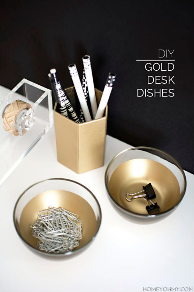 Organizing Ideas for Your Life - DIY Gold Desk Dishes - Easy Crafts and Cool Ideas for Getting Organized - Best Ways to Get Organized - Things to Make for Being More Efficient and Productive - DIY Storage, Shelving, Calendars, Planning #organizing