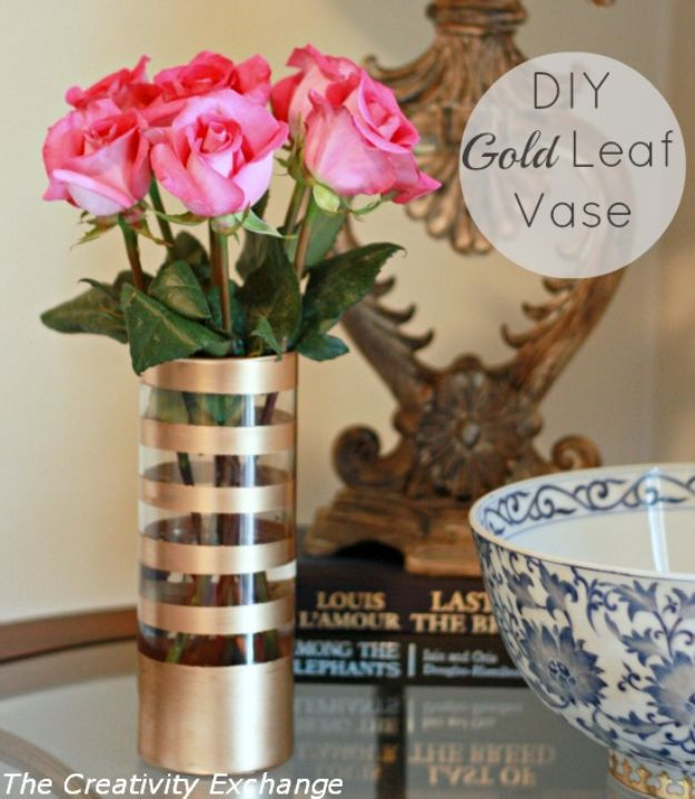 Dollar Tree Crafts - DIY Gold Leaf Vase - DIY Ideas and Crafts Projects From Dollar Tree Stores - Easy Organizing Project Tutorials and Home Decorations- Cheap Crafts to Make and Sell - Organization, Summer Parties, Christmas and Wedding Decor on A Budget - Fun Crafts for Kids and Teens from Dollar Store Items #dollarstore #dollartree #dollarstorecrafts #cheapcrafts #crafts #diy #diyideas http://diyjoy.com/dollar-tree-crafts