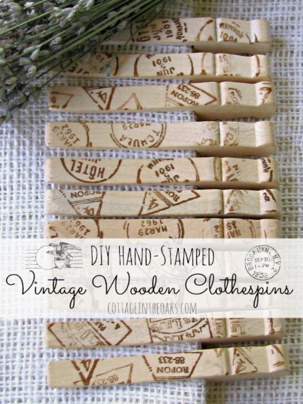 Cheap DIY Gift Ideas - DIY Hand-Stamped Vintage Wooden Clothespins - List of Handmade Gifts on A Budget and Inexpensive Christmas Presents - Do It Yourself Gift Idea for Family and Friends, Mom and Dad, For Guys and Women, Boyfriend, Girlfriend, BFF, Kids and Teens - Dollar Store and Dollar Tree Crafts, Home Decor, Room Accessories and Fun Things to Make At Home http://diyjoy.com/cheap-diy-gift-ideas