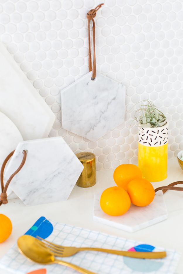Cheap DIY Gift Ideas - DIY Hanging Marble Serving Board - List of Handmade Gifts on A Budget and Inexpensive Christmas Presents - Do It Yourself Gift Idea for Family and Friends, Mom and Dad, For Guys and Women, Boyfriend, Girlfriend, BFF, Kids and Teens - Dollar Store and Dollar Tree Crafts, Home Decor, Room Accessories and Fun Things to Make At Home http://diyjoy.com/cheap-diy-gift-ideas