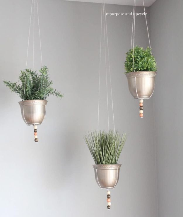 Dollar Tree Crafts - DIY Hanging Planter Project with Dollar Tree Supplies - DIY Ideas and Crafts Projects From Dollar Tree Stores - Easy Organizing Project Tutorials and Home Decorations- Cheap Crafts to Make and Sell #dollarstore #dollartree #dollarstorecrafts #cheapcrafts #crafts #diy #diyideas