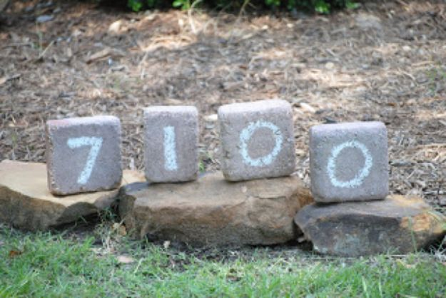 DIY Ideas With Bricks - DIY House Numbers - Home Decor and Creative Do It Yourself Projects to Make With Bricks - Ideas for Patio, Walkway, Fireplace, Firepit, Mantle, Grill and Art - Inexpensive Decoration Tutorials With Step By Step Instruction for Brick DIY #diy #homeimprovement