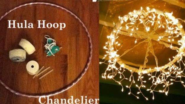 DIY Home Decor On A Budget - DIY Hula Hoop Chandelier - Cheap Home Decorations to Make From The Dollar Store and Dollar Tree - Inexpensive Budget Friendly Wall Art, Furniture, Table Accents, Rugs, Pillows, Bedding and Chairs - Candles, Crafts To Make for Your Bedroom, Pretty Signs and Art, Linens, Storage and Organizing Ideas for Apartments http://diyjoy.com/cheap-diy-home-decor
