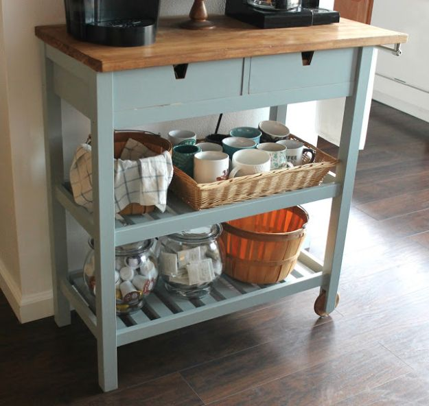 IKEA Hacks for Your Kitchen - DIY IKEA Coffee Cart - DIY Furniture and Kitchen Accessories Made from IKEA - Kitchen Islands, Cabinets, Table, Pantry Organization, Storage, Shelves and Counter Solutions - Bar, Buffet and Entertaining Ideas - Easy Projects With Step by Step Tutorials and Instructions to Hack IKEA items #ikea #ikeahacks #diyhomedecor #diyideas #diykitchen