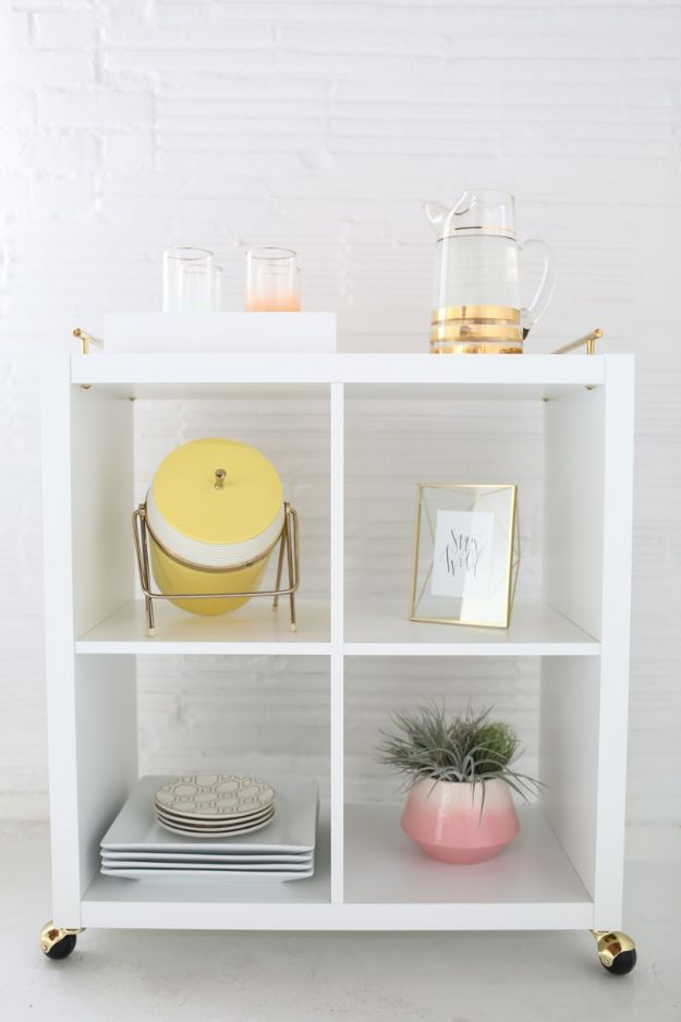 IKEA Hacks for Your Kitchen - DIY IKEA Hack Bar Cart - DIY Furniture and Kitchen Accessories Made from IKEA - Kitchen Islands, Cabinets, Table, Pantry Organization, Storage, Shelves and Counter Solutions - Bar, Buffet and Entertaining Ideas - Easy Projects With Step by Step Tutorials and Instructions to Hack IKEA items #ikea #ikeahacks #diyhomedecor #diyideas #diykitchen