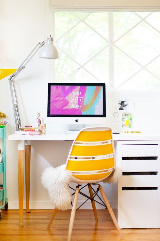 DIY Office Furniture - DIY Ikea Desk Hack - Do It Yourself Home Office Furniture Ideas - Desk Projects, Thrift Store Makeovers, Chairs, Office File Cabinets and Organization - Shelving, Bulletin Boards, Wall Art for Offices and Creative Work Spaces in Your House - Tables, Armchairs, Desk Accessories and Easy Desks To Make On A Budget #diyoffice #diyfurniture #diy #diyhomedecor #diyideas