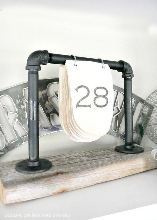 DIY Industrial Decor - DIY Industrial Desk Calendar - Industrail Shelves, Furniture, Table, Desk, Cart, Headboard, Chandelier, Bookcase - Easy Pipe Shelf Tutorial - Rustic Farmhouse Home Decor on A Budget - Lighting Ideas for Bedroom, Bathroom and Kitchen http://diyjoy.com/diy-industrial-decor