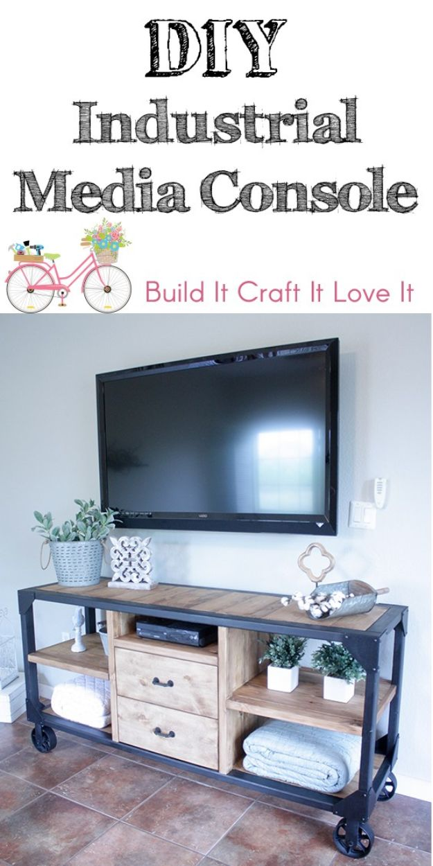DIY Industrial Decor - DIY Industrial Media Console - Industrail Shelves, Furniture, Table, Desk, Cart, Headboard, Chandelier, Bookcase - Easy Pipe Shelf Tutorial - Rustic Farmhouse Home Decor on A Budget - Lighting Ideas for Bedroom, Bathroom and Kitchen http://diyjoy.com/diy-industrial-decor