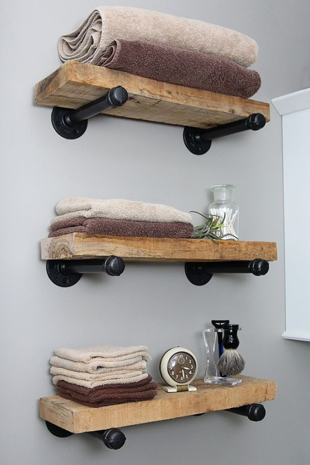 DIY Industrial Decor - DIY Industrial Pipe Shelves - Industrail Shelves, Furniture, Table, Desk, Cart, Headboard, Chandelier, Bookcase - Easy Pipe Shelf Tutorial - Rustic Farmhouse Home Decor on A Budget - Lighting Ideas for Bedroom, Bathroom and Kitchen http://diyjoy.com/diy-industrial-decor