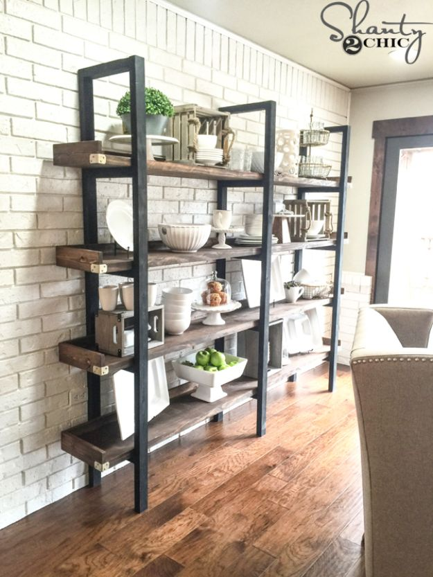 DIY Industrial Decor - DIY Industrial Plate Rack - Industrail Shelves, Furniture, Table, Desk, Cart, Headboard, Chandelier, Bookcase - Easy Pipe Shelf Tutorial - Rustic Farmhouse Home Decor on A Budget - Lighting Ideas for Bedroom, Bathroom and Kitchen http://diyjoy.com/diy-industrial-decor