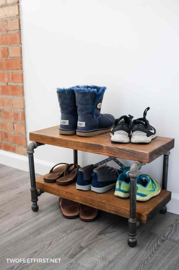 DIY Industrial Decor - DIY Industrial Shoe Rack - Industrail Shelves, Furniture, Table, Desk, Cart, Headboard, Chandelier, Bookcase - Easy Pipe Shelf Tutorial - Rustic Farmhouse Home Decor on A Budget - Lighting Ideas for Bedroom, Bathroom and Kitchen http://diyjoy.com/diy-industrial-decor