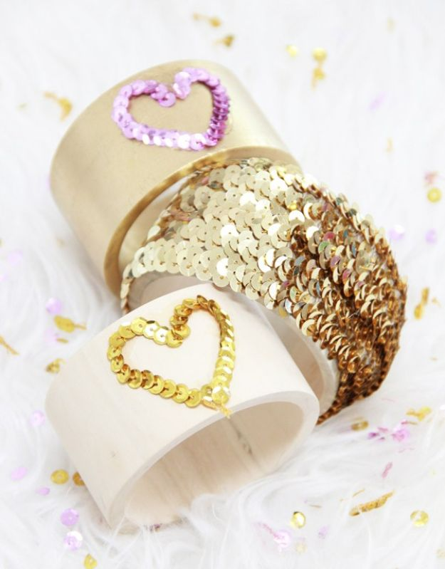 Cheap DIY Gift Ideas for Teens and Adults - DIY Jewelry Sequin Bracelet - Cool Gifts to Make For Her - Handmade Gift Ideas for Mom, Girlfriend, Wife or Sister
