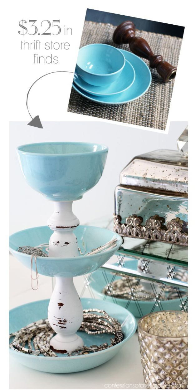 Thrift Store DIY Makeovers - DIY Jewelry Storage - Decor and Furniture With Upcycling Projects and Tutorials - Room Decor Ideas on A Budget - Crafts and Decor to Make and Sell - Before and After Photos - Farmhouse, Outdoor, Bedroom, Kitchen, Living Room and Dining Room Furniture http://diyjoy.com/thrift-store-makeovers