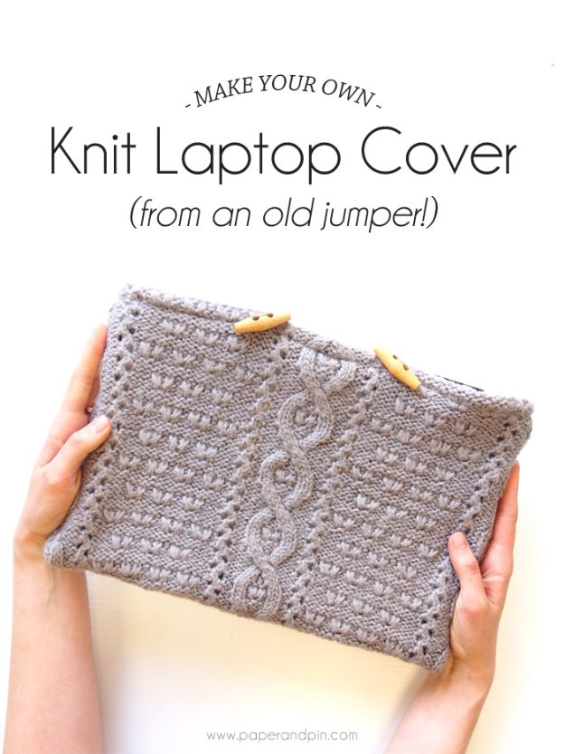 Cheap DIY Gift Ideas - DIY Knit Laptop Cover - List of Handmade Gifts on A Budget and Inexpensive Christmas Presents - Do It Yourself Gift Idea for Family and Friends, Mom and Dad, For Guys and Women, Boyfriend, Girlfriend, BFF, Kids and Teens - Dollar Store and Dollar Tree Crafts, Home Decor, Room Accessories and Fun Things to Make At Home #diygifts #christmas #giftideas #diy