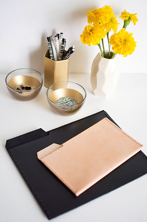 DIY Office Furniture - DIY Leather File Folders - Do It Yourself Home Office Furniture Ideas - Desk Projects, Thrift Store Makeovers, Chairs, Office File Cabinets and Organization - Shelving, Bulletin Boards, Wall Art for Offices and Creative Work Spaces in Your House - Tables, Armchairs, Desk Accessories and Easy Desks To Make On A Budget #diyoffice #diyfurniture #diy #diyhomedecor #diyideas