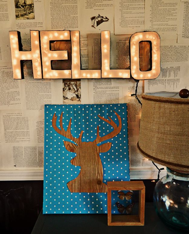Dollar Tree Crafts - DIY Lighted Letters Sign - DIY Ideas and Crafts Projects From Dollar Tree Stores - Easy Organizing Project Tutorials and Home Decorations- Cheap Crafts to Make and Sell #dollarstore #dollartree #dollarstorecrafts #cheapcrafts #crafts #diy #diyideas