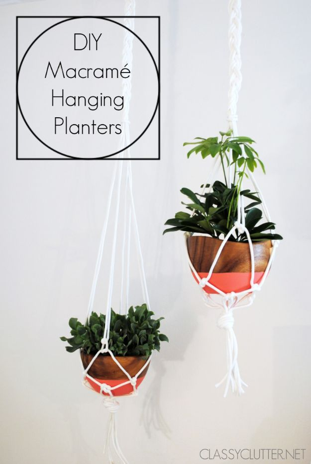 Cheap DIY Gift Ideas - DIY Macramé Hanging Planter - List of Handmade Gifts on A Budget and Inexpensive Christmas Presents - Do It Yourself Gift Idea for Family and Friends, Mom and Dad, For Guys and Women, Boyfriend, Girlfriend, BFF, Kids and Teens - Dollar Store and Dollar Tree Crafts, Home Decor, Room Accessories and Fun Things to Make At Home http://diyjoy.com/cheap-diy-gift-ideas