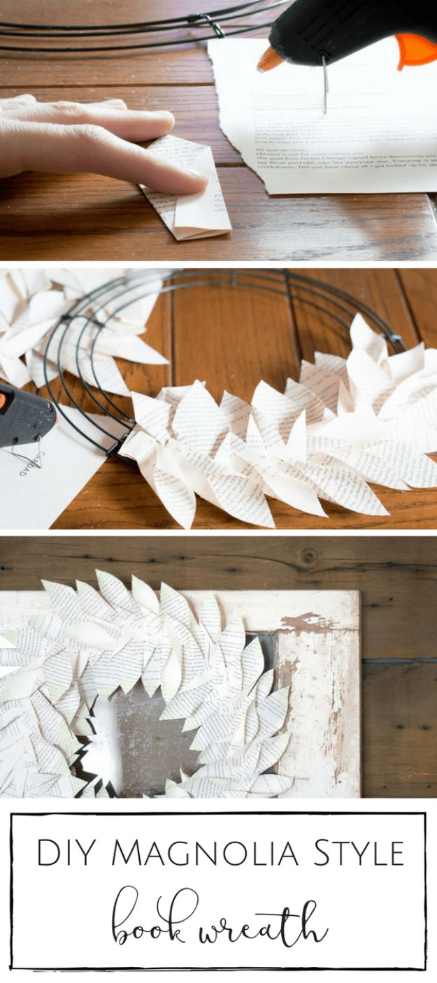 Paper Crafts DIY - DIY Magnolia Style Book Wreath - Papercraft Tutorials and Easy Projects for Make for Decoration and Gift IDeas - Origami, Paper Flowers, Heart Decoration, Scrapbook Notions, Wall Art, Christmas Cards, Step by Step Tutorials for Crafts Made From Papers http://diyjoy.com/paper-crafts-diy