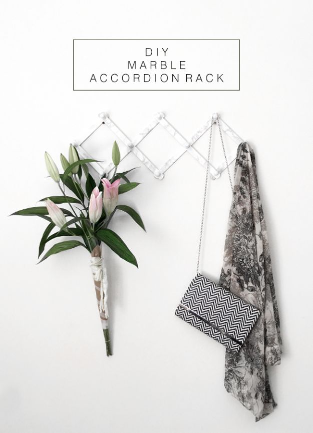 DIY Home Decor On A Budget - DIY Marble Accordion Rack - Cheap Home Decorations to Make From The Dollar Store and Dollar Tree - Inexpensive Budget Friendly Wall Art, Furniture, Table Accents, Rugs, Pillows, Bedding and Chairs - Candles, Crafts To Make for Your Bedroom, Pretty Signs and Art, Linens, Storage and Organizing Ideas for Apartments #diydecor #decoratingideas #cheaphomedecor