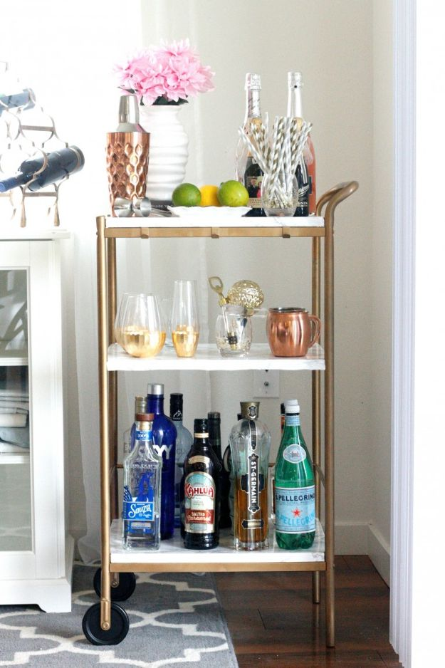 DIY Industrial Decor - DIY Marble & Gold Bar Cart - Industrail Shelves, Furniture, Table, Desk, Cart, Headboard, Chandelier, Bookcase - Easy Pipe Shelf Tutorial - Rustic Farmhouse Home Decor on A Budget - Lighting Ideas for Bedroom, Bathroom and Kitchen http://diyjoy.com/diy-industrial-decor