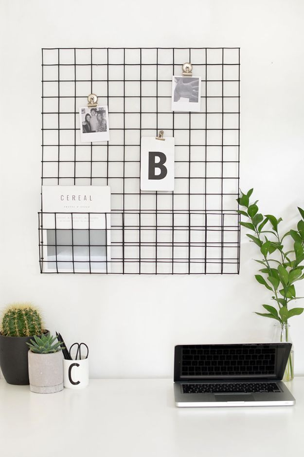 DIY Office Furniture - DIY Metal Memo Board - Do It Yourself Home Office Furniture Ideas - Desk Projects, Thrift Store Makeovers, Chairs, Office File Cabinets and Organization - Shelving, Bulletin Boards, Wall Art for Offices and Creative Work Spaces in Your House - Tables, Armchairs, Desk Accessories and Easy Desks To Make On A Budget #diyoffice #diyfurniture #diy #diyhomedecor #diyideas