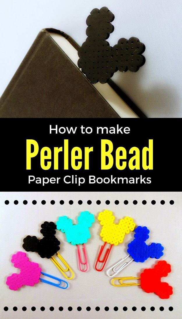 DIY perler bead crafts - DIY Mickey Mouse Perler Bead Bookmarks - Easy Crafts With Perler Beads - Cute Accessories and Homemade Decor That Make Creative DIY Gifts - Plastic Melted Beads Make Cool Art for Walls, Jewelry and Things To Make When You are Bored #diy #crafts