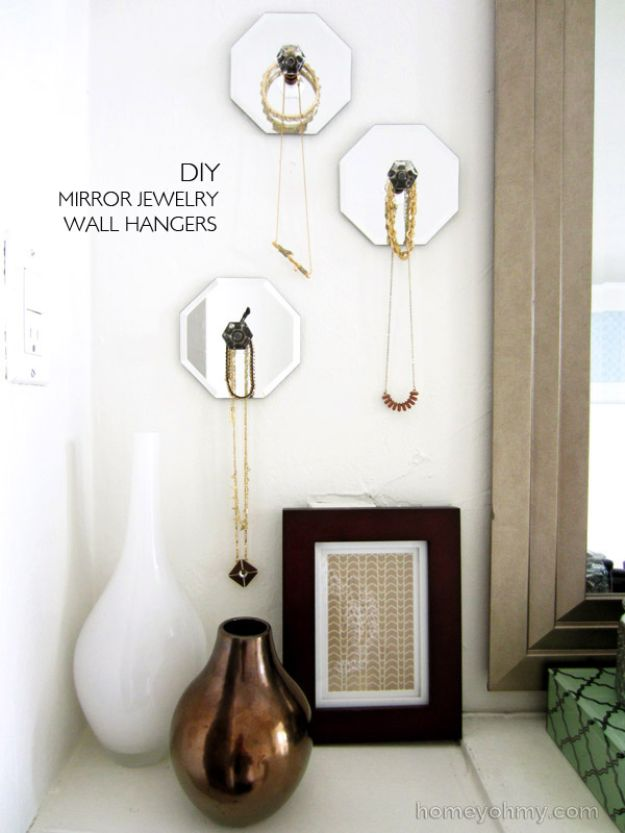 Dollar Tree Crafts - DIY Mirror Jewelry Wall Hangers - DIY Ideas and Crafts Projects From Dollar Tree Stores - Easy Organizing Project Tutorials and Home Decorations- Cheap Crafts to Make and Sell - Organization, Summer Parties, Christmas and Wedding Decor on A Budget - Fun Crafts for Kids and Teens from Dollar Store Items #dollarstore #dollartree #dollarstorecrafts #cheapcrafts #crafts #diy #diyideas http://diyjoy.com/dollar-tree-crafts