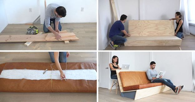 DIY Office Furniture - DIY Modern Couch That Also Doubles As A Desk - Do It Yourself Home Office Furniture Ideas - Desk Projects, Thrift Store Makeovers, Chairs, Office File Cabinets and Organization - Shelving, Bulletin Boards, Wall Art for Offices and Creative Work Spaces in Your House - Tables, Armchairs, Desk Accessories and Easy Desks To Make On A Budget #diyoffice #diyfurniture #diy #diyhomedecor #diyideas http://diyjoy.com/diy-office-furniture