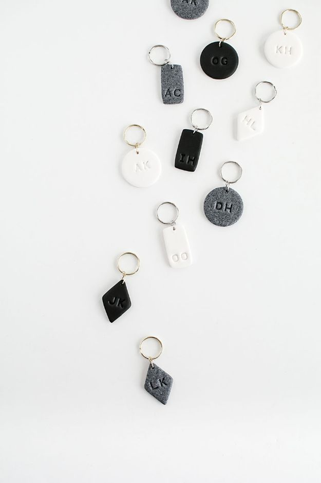 Cheap DIY Gift Ideas - DIY Monogram Clay Keychains - List of Handmade Gifts on A Budget and Inexpensive Christmas Presents - Do It Yourself Gift Idea for Family and Friends, Mom and Dad, For Guys and Women, Boyfriend, Girlfriend, BFF, Kids and Teens - Dollar Store and Dollar Tree Crafts, Home Decor, Room Accessories and Fun Things to Make At Home #diygifts #christmas #giftideas #diy