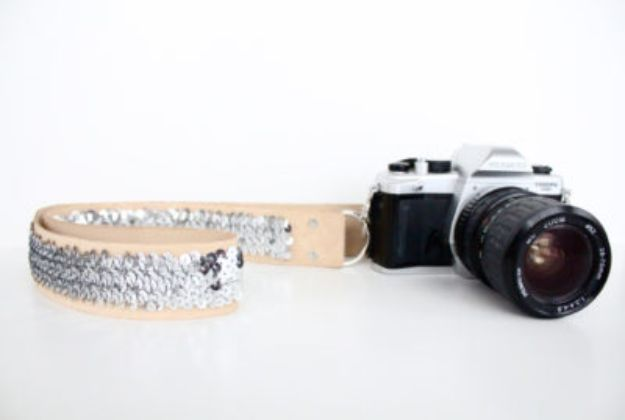 Cheap DIY Gift Ideas - DIY No Sew Sequin Camera Strap - List of Handmade Gifts on A Budget and Inexpensive Christmas Presents - Do It Yourself Gift Idea for Family and Friends, Mom and Dad, For Guys and Women, Boyfriend, Girlfriend, BFF, Kids and Teens - Dollar Store and Dollar Tree Crafts, Home Decor, Room Accessories and Fun Things to Make At Home http://diyjoy.com/cheap-diy-gift-ideas