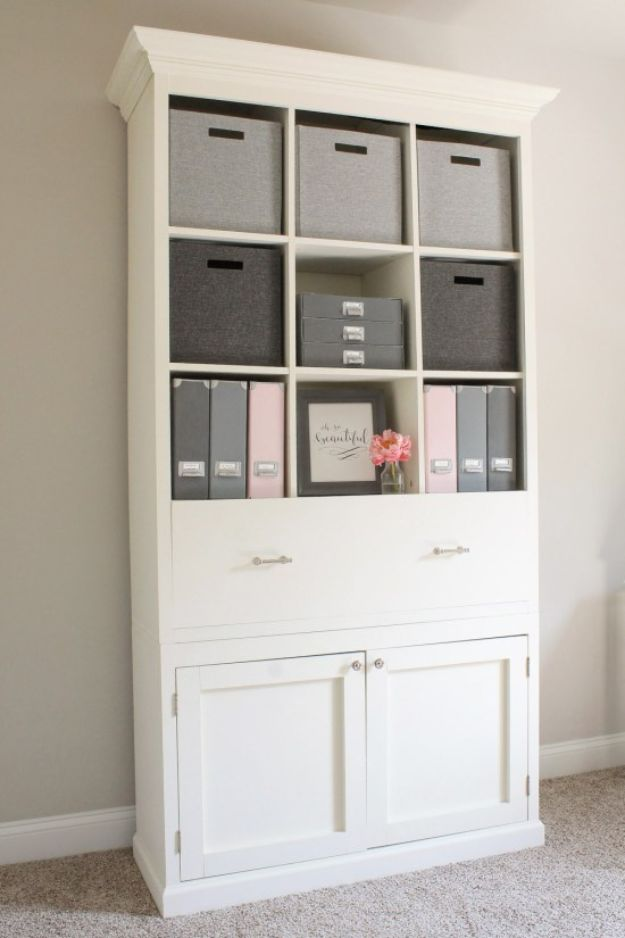 DIY Office Furniture - DIY Office Storage Cabinet Bookcase - Do It Yourself Home Office Furniture Ideas - Desk Projects, Thrift Store Makeovers, Chairs, Office File Cabinets and Organization - Shelving, Bulletin Boards, Wall Art for Offices and Creative Work Spaces in Your House - Tables, Armchairs, Desk Accessories and Easy Desks To Make On A Budget #diyoffice #diyfurniture #diy #diyhomedecor #diyideas