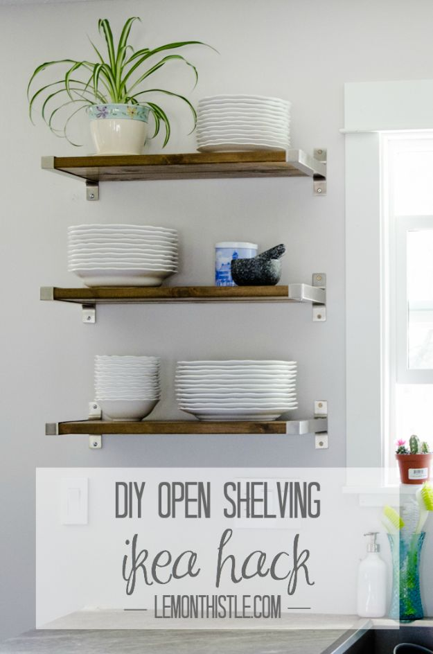 IKEA Hacks for Your Kitchen - DIY Open Shelving IKEA Hack - DIY Furniture and Kitchen Accessories Made from IKEA - Kitchen Islands, Cabinets, Table, Pantry Organization, Storage, Shelves and Counter Solutions - Bar, Buffet and Entertaining Ideas - Easy Projects With Step by Step Tutorials and Instructions to Hack IKEA items #ikea #ikeahacks #diyhomedecor #diyideas #diykitchen